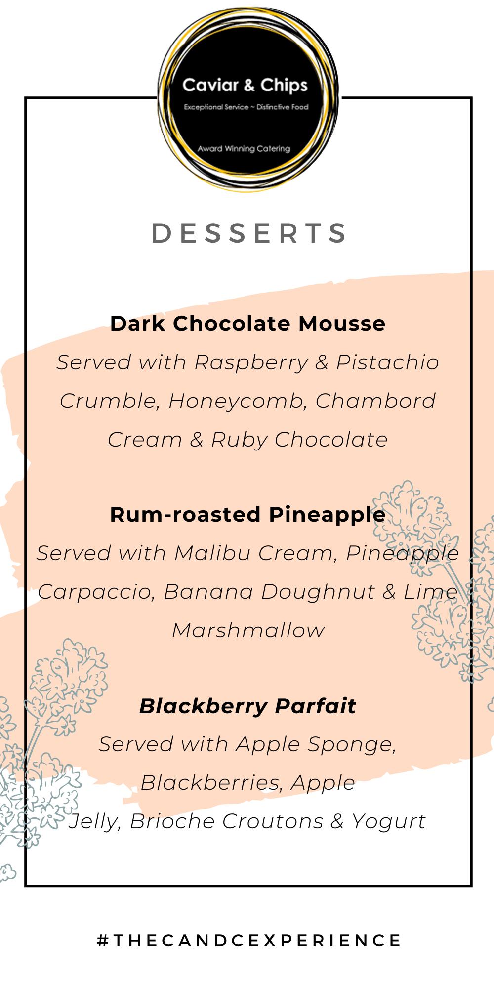 Dessert ideas for an autumn inspired wedding menu