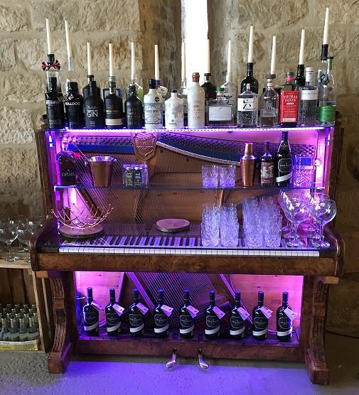 Piano bar set up as a gin bar