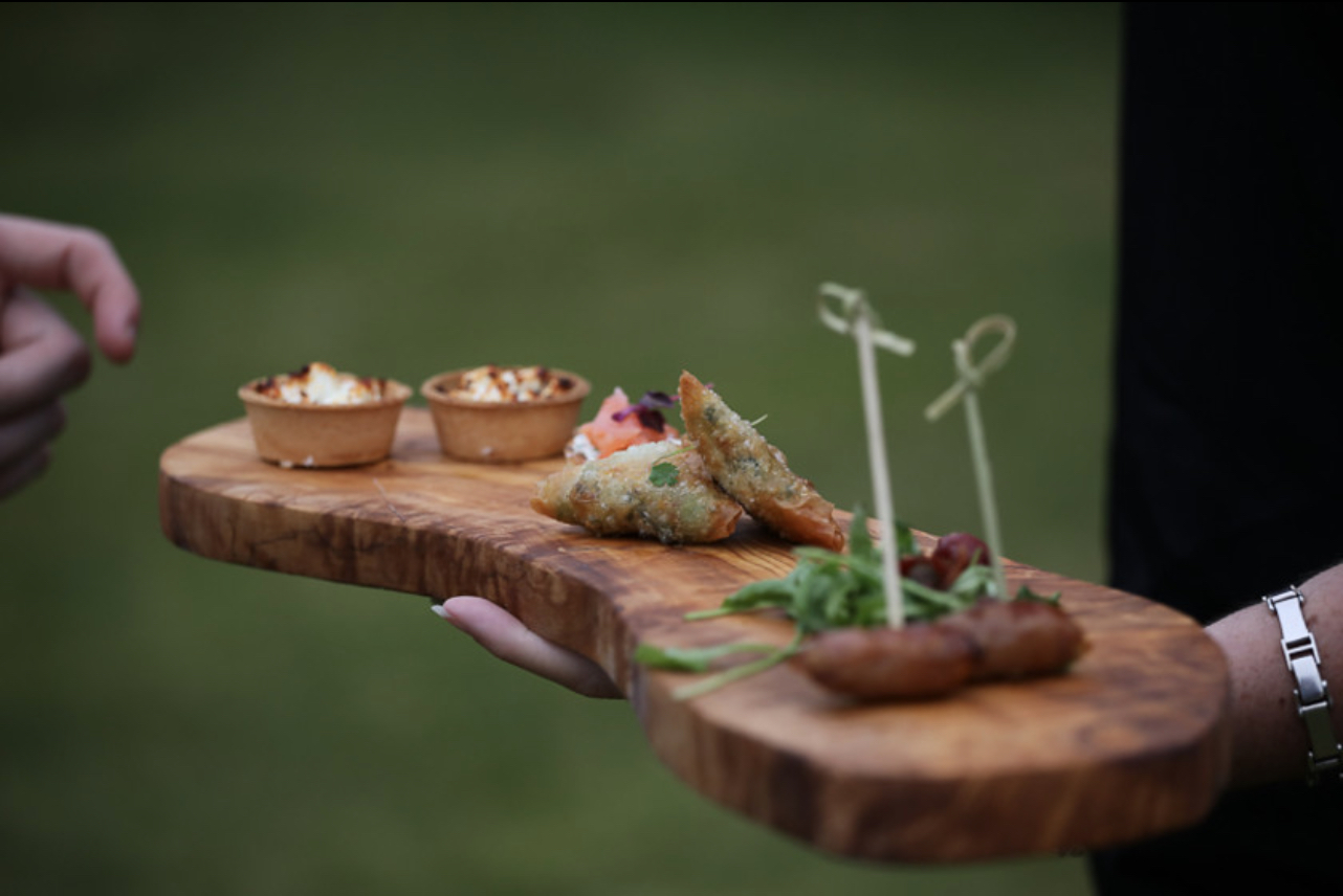Autumn canapes served at outdoor wedding