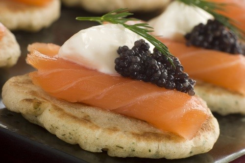 Smoked salmon blini wedding canapés