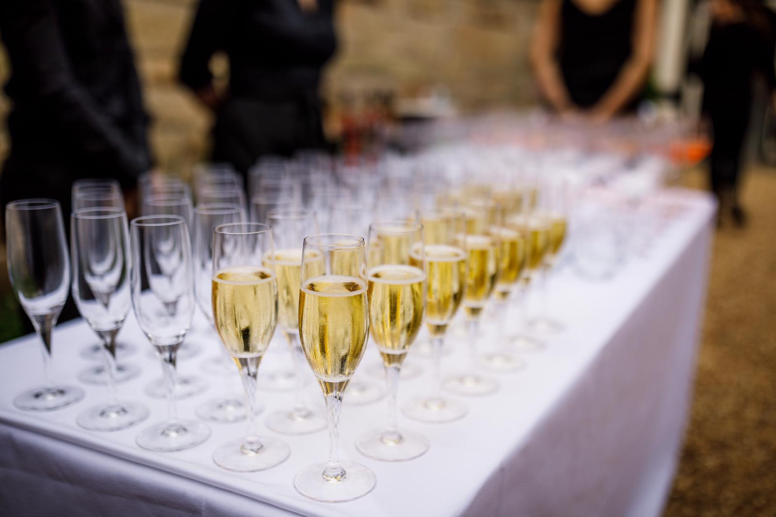Champagne reception wedding