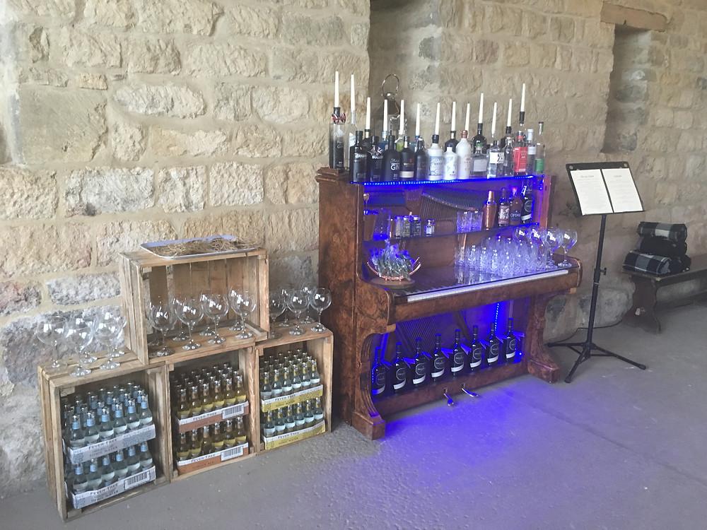 Piano bar set up at a wedding