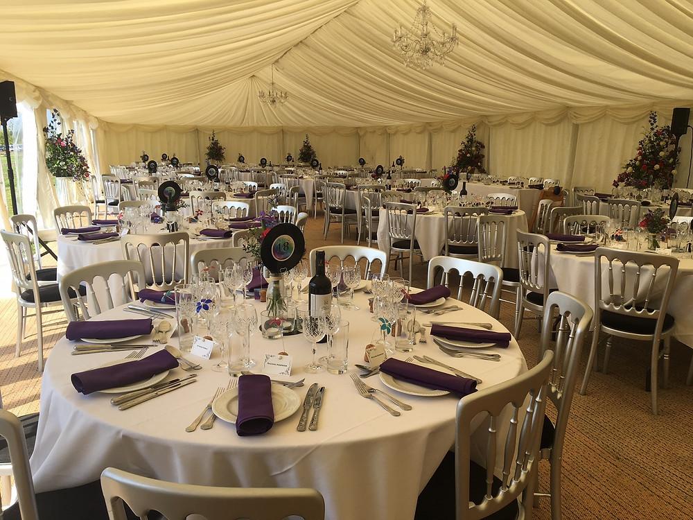 Wedding breakfast catering in garden marquee in Stratford Upon Avon