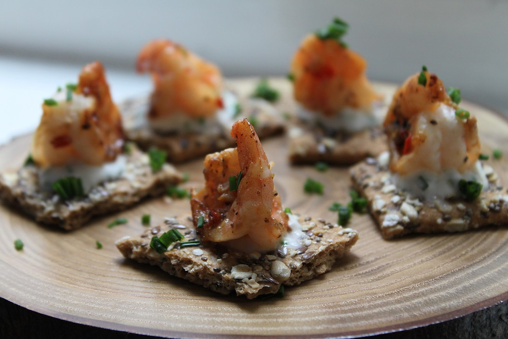 King prawn canapes from Caviar & Chips Catering