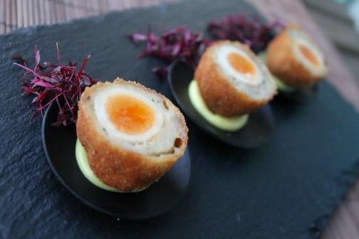 Truffle and parmesan scotch quail eggs wedding canapés