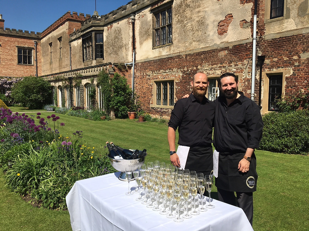 Champagne and canape reception at Holme Pierrepont Hall in Nottinghamshire