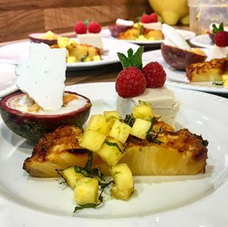 Vegan trio of dessert cheesecake eton mess with rum and roasted pineapple with mango salsa