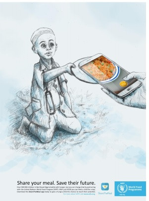 2019 Nigeria Young Lions Print Competition Winner  by  Mary Ogedengbe and Sodiq Sheu from Noah's Ark Communications Limited for ShareTheMeal App of the United Nations World Food  Programme, 2020 Winner of Nobel Peace Prize