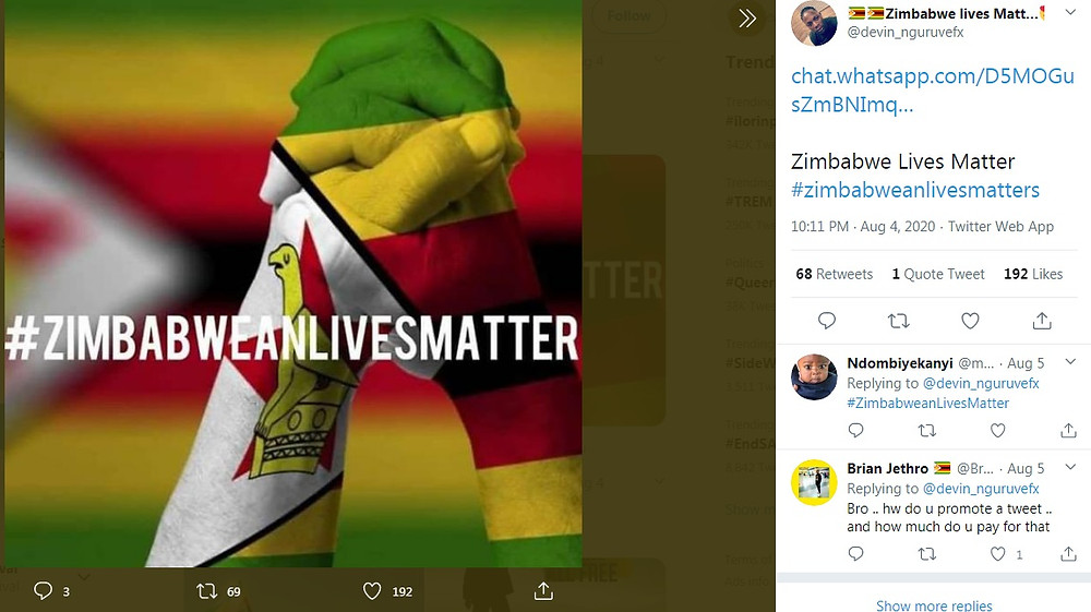 A #ZimbaweanLivesMatter Tweet