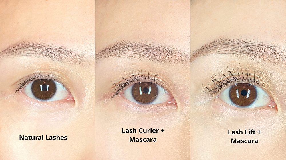 A comparison between how lashes look using a mechanical curler vs how it looks after a lash lift. The lash lifted lashes appear much longer than using a lash curler.