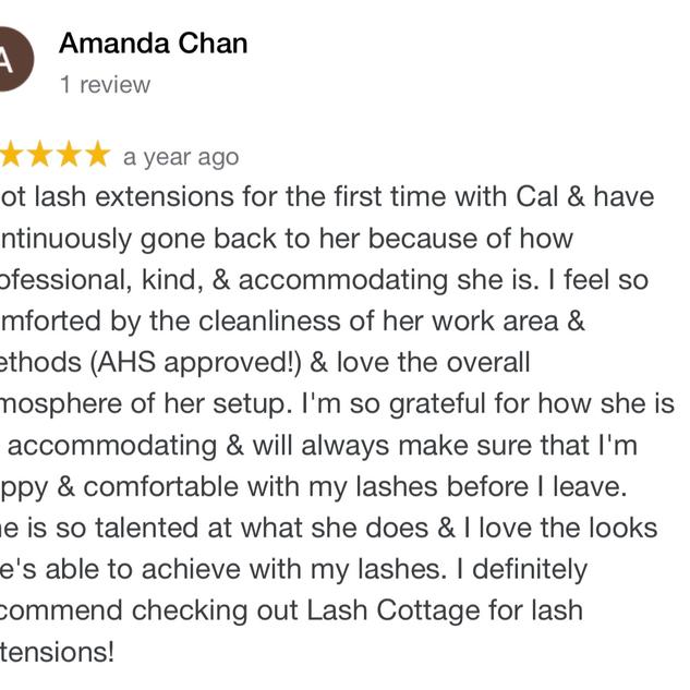 Lash Cottage Reviews