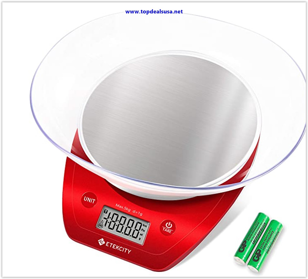 Etekcity Food Scale with Bowl, Digital Kitchen Weight Grams, and Ounces for Cooking and Baking