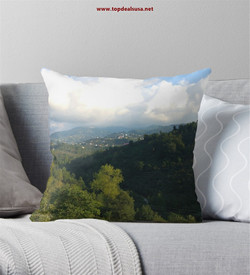 Clouds & Town in the forest Throw Pillow