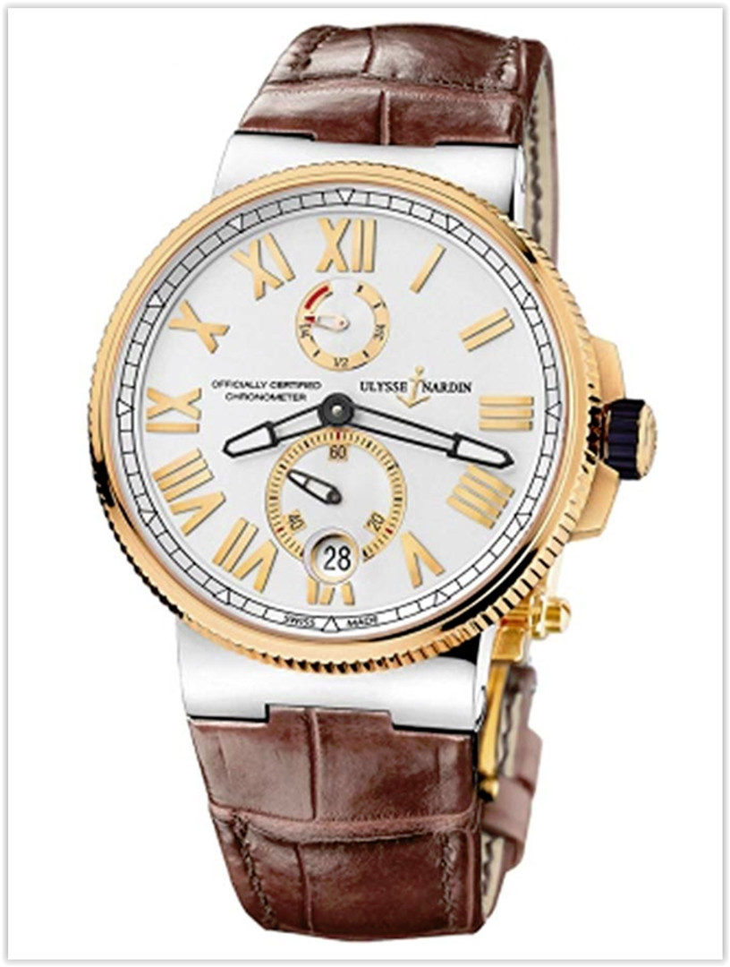 Ulysse Nardin Marine Chronometer Silver Dial Brown Leather Men's Watch Price