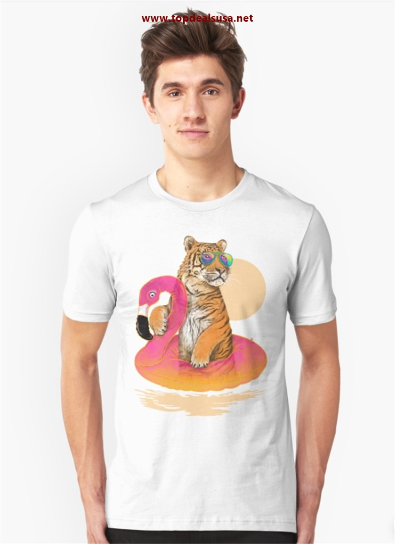 Chillin, Flamingo Tiger Slim Fit T-Shirt best buy