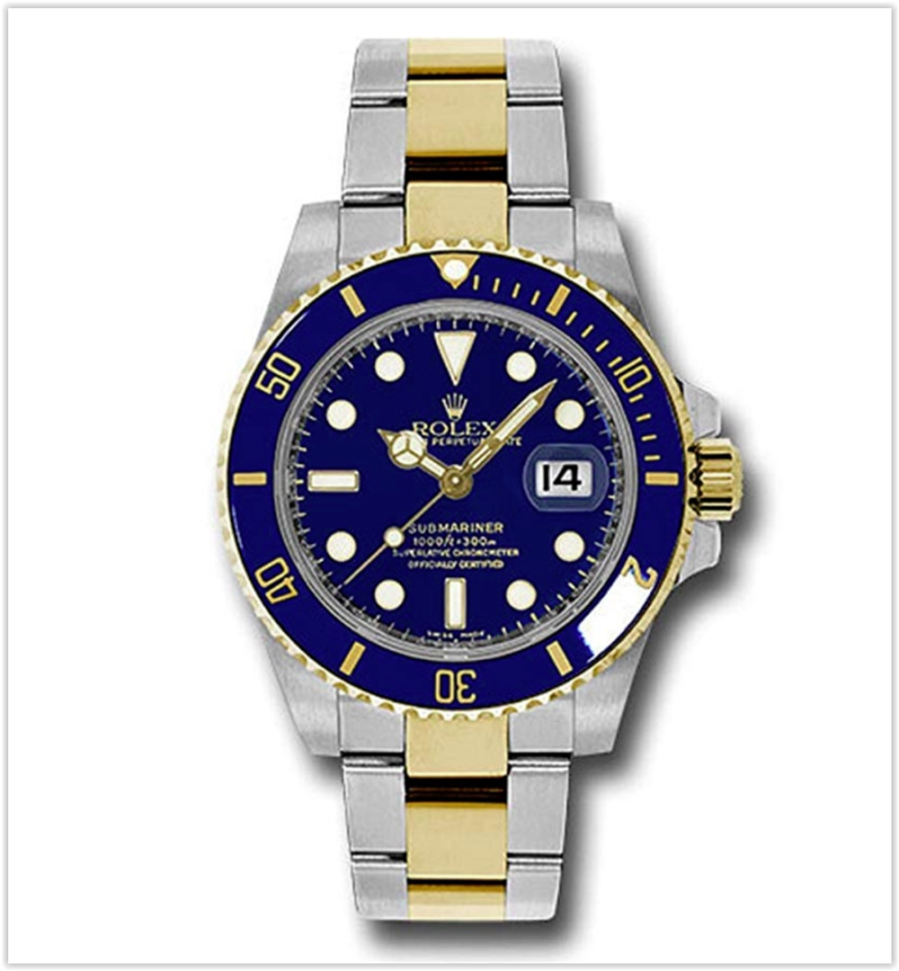 Rolex Oyster Perpetual 40MM Stainless Steel & 18K Yellow Gold Submariner Date With a Blue Cerachrom Men's watch best price