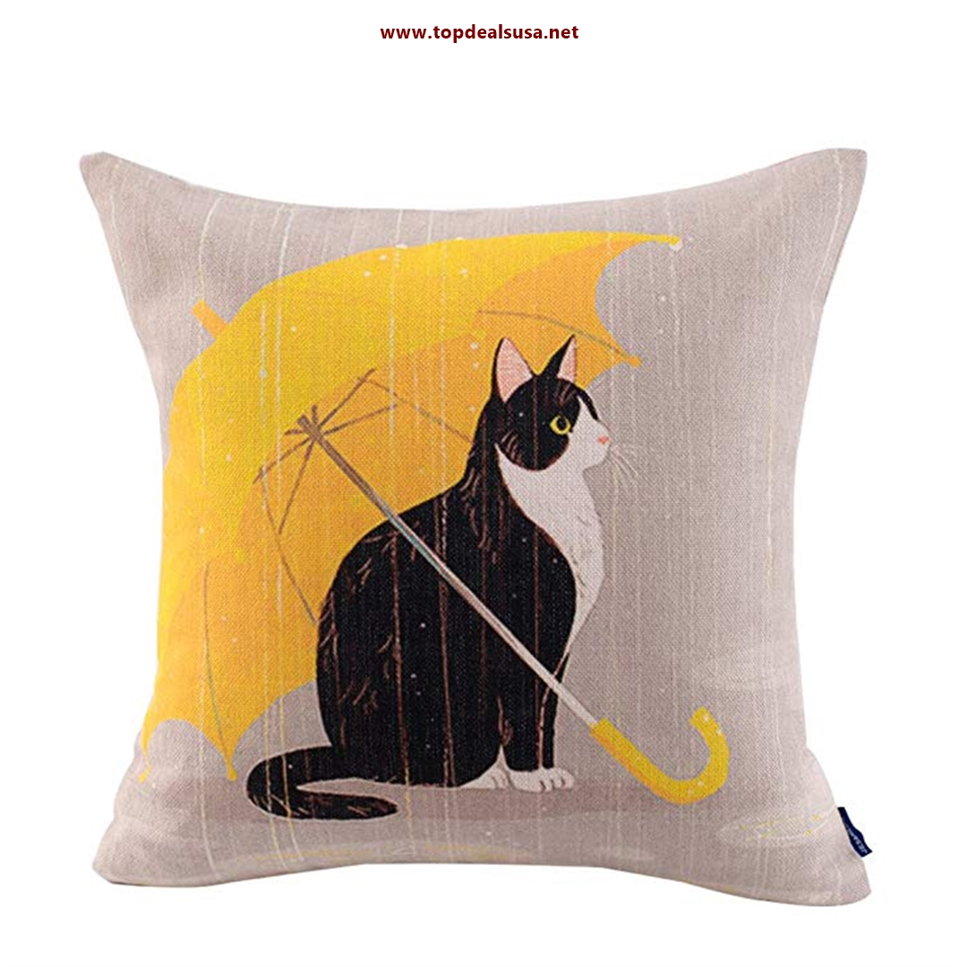 Cute Cat Theme Print Square Throw Pillow