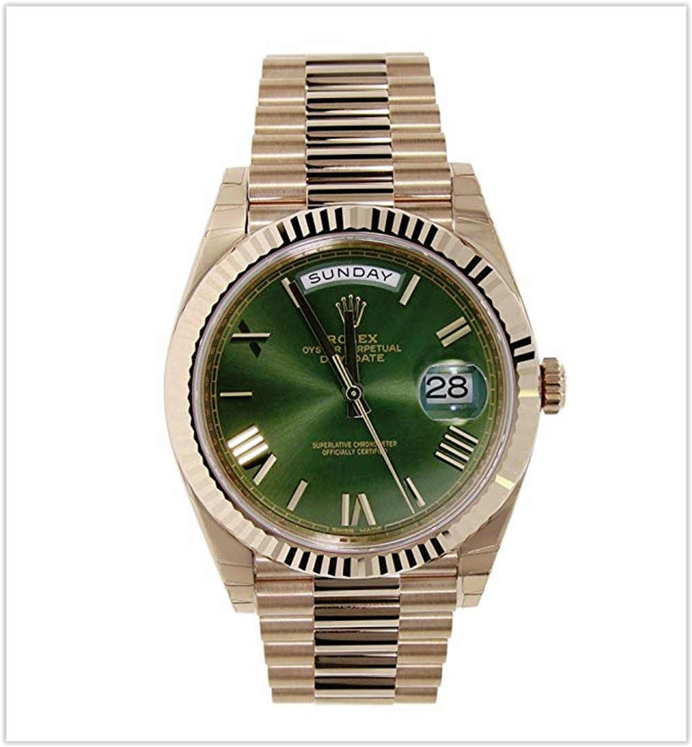 Rolex Day-Date 40mm 18K Rose Gold President Green Roman Dial Men's Watch best price
