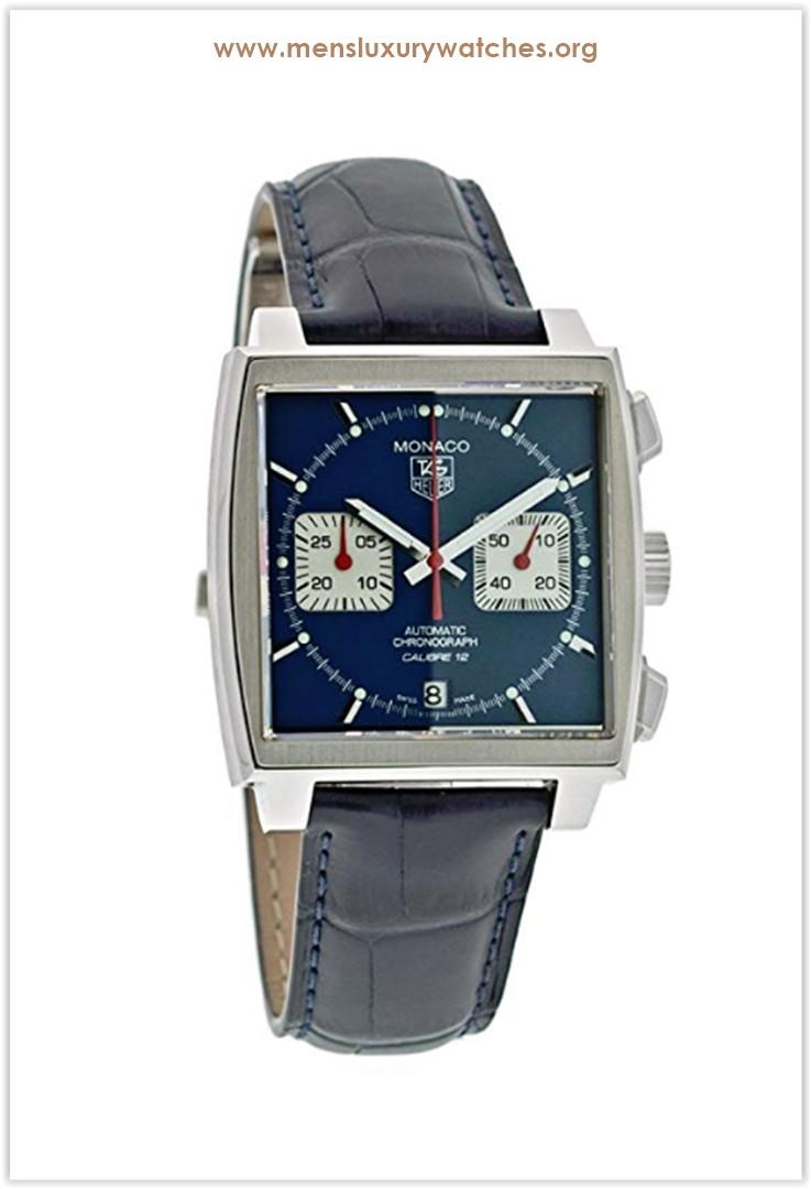 TAG Heuer Monaco Calibre 12 Automatic Chronograph Blue Alligator Strap Men's Watch Price