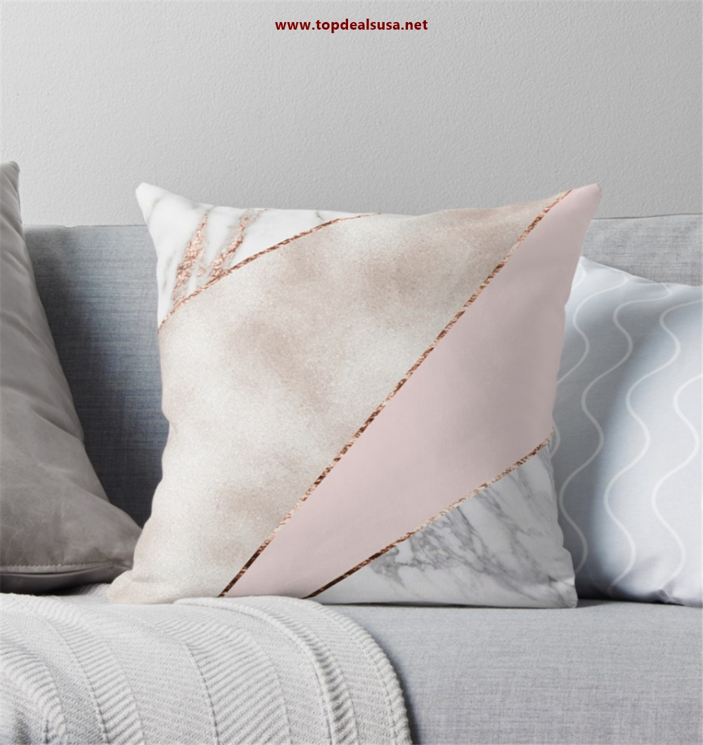Spliced mixed rose gold marble Throw Pil