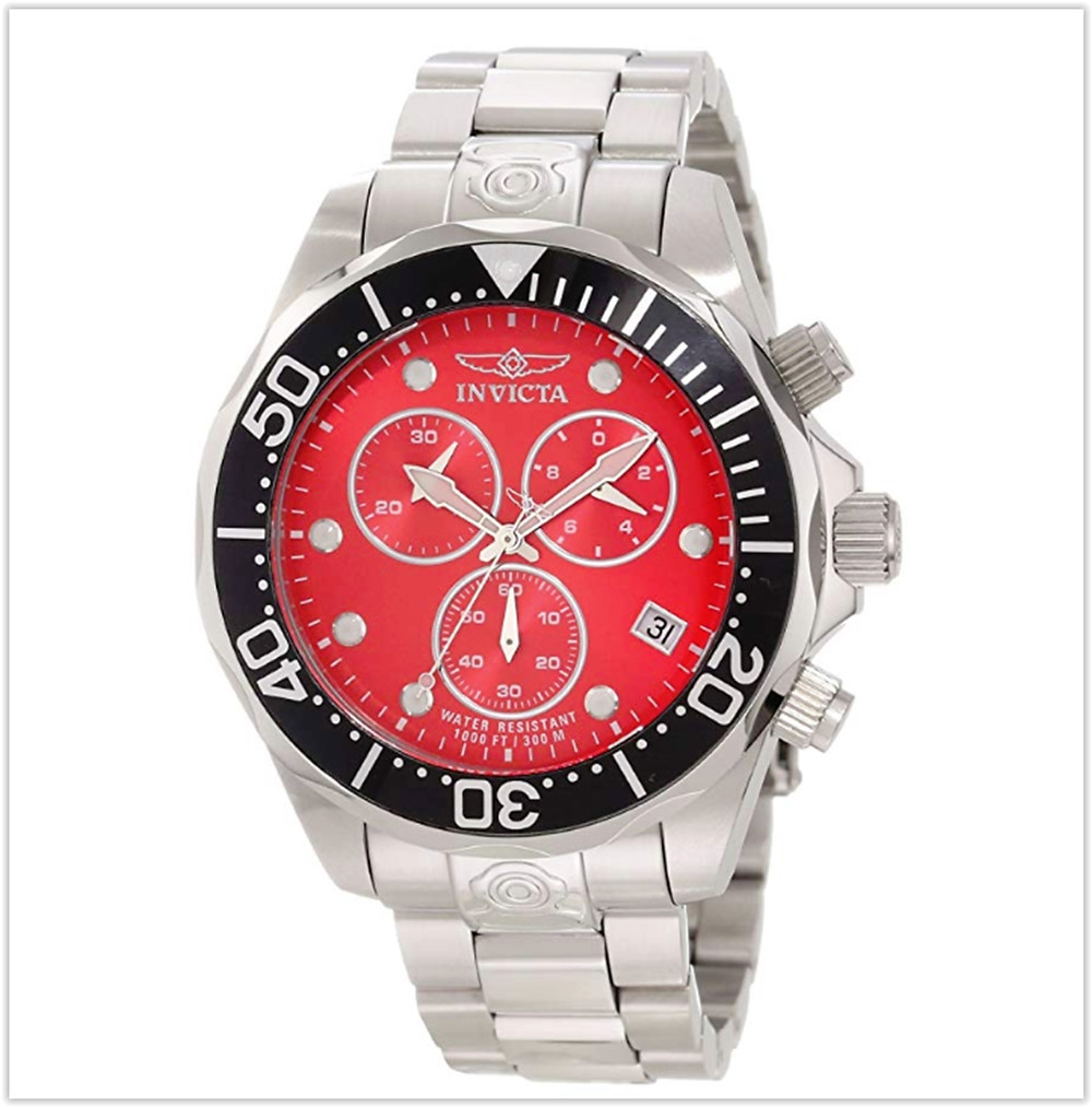 9. Invicta Men's  Pro Diver Chronograph Red Dial Stainless Steel Watch