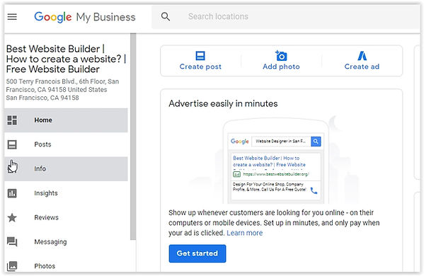 Create a Google my business account