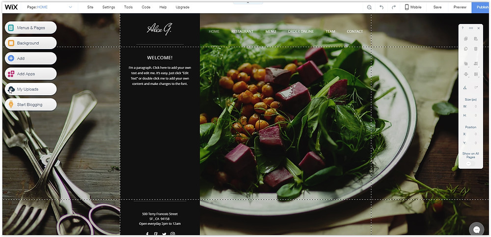 How to create a website for a restaurant