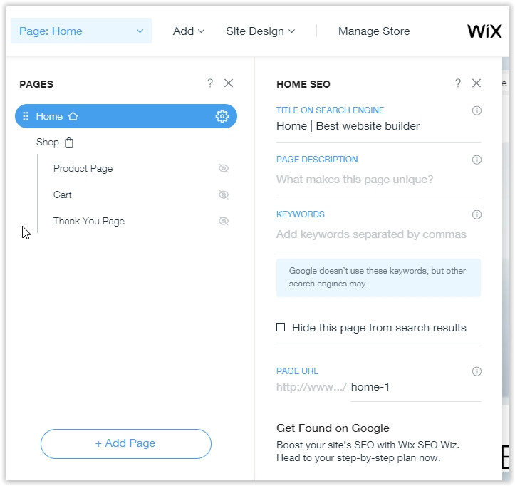 Wix online store product settings