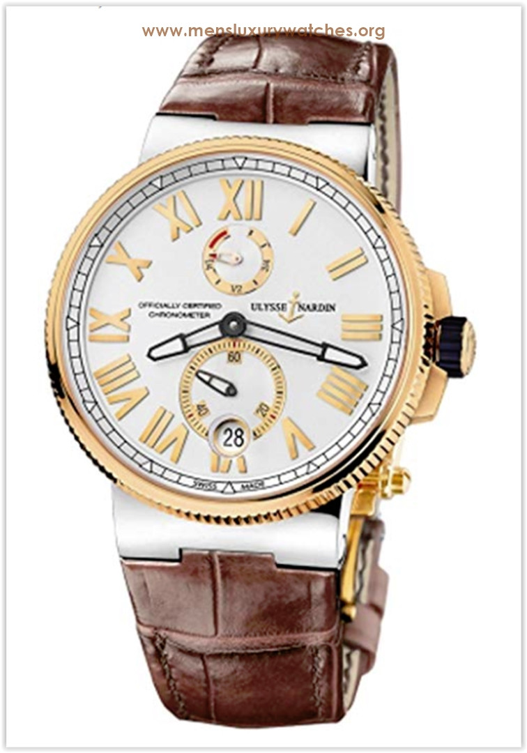 Ulysse Nardin Marine Chronometer Silver Dial Brown Leather Men's Watch the best price