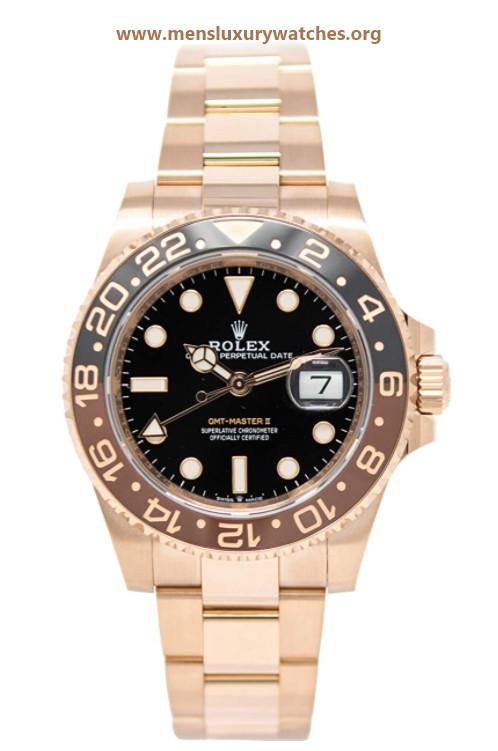 Rolex GMT-Master II 126715 18K Rose Gold Watch Black Dial Black and Brown Rotatable Bezel UNWORN