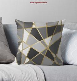 Black & Gray Modern Geo Gold Triangles T