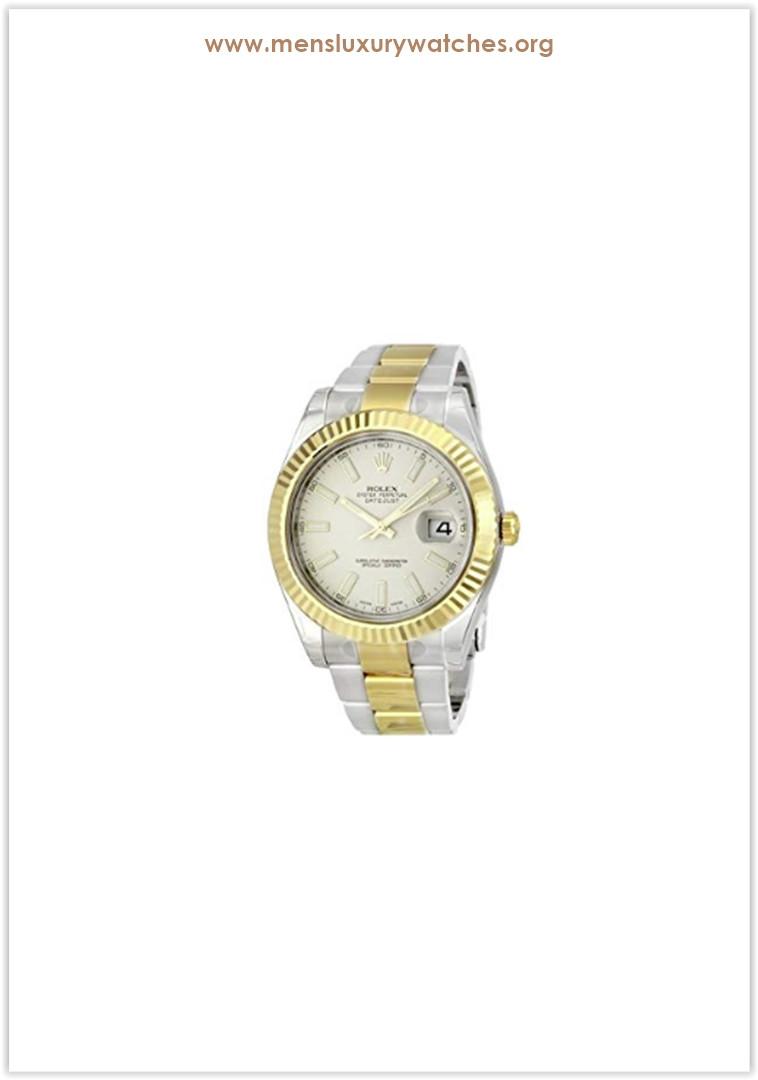 Rolex Datejust II Ivory Index Dial 18k Yellow Gold Bezel Oyster Bracelet Men's Watch Price