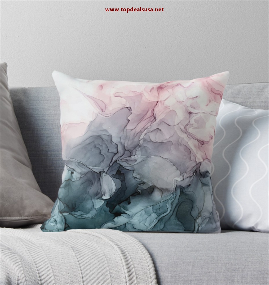 Blush and Payne's Grey Flowing Abstract