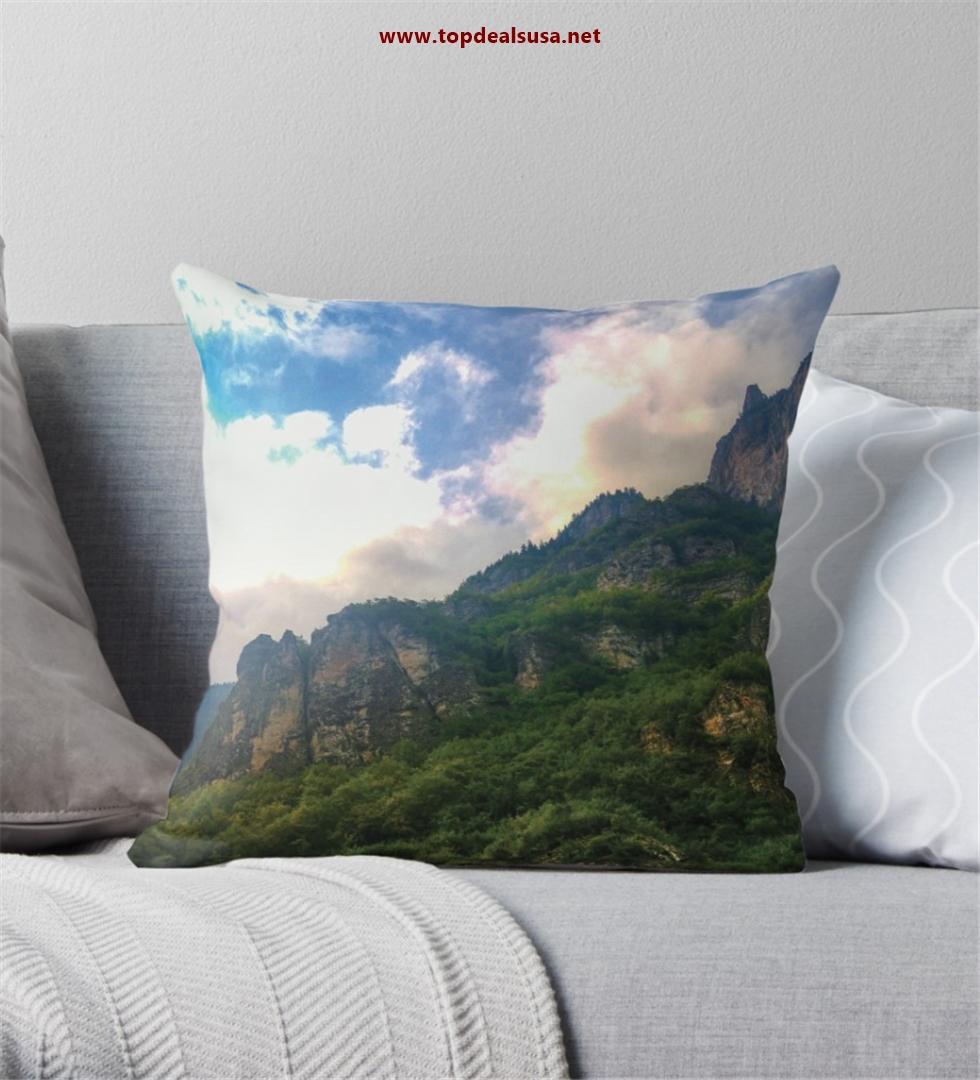 Amazing Mountain & Clouds Throw Pillow
