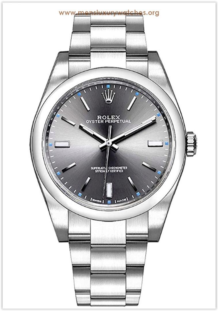 Rolex Oyster Perpetual Dark Rhodium Dial Men's Watch Price