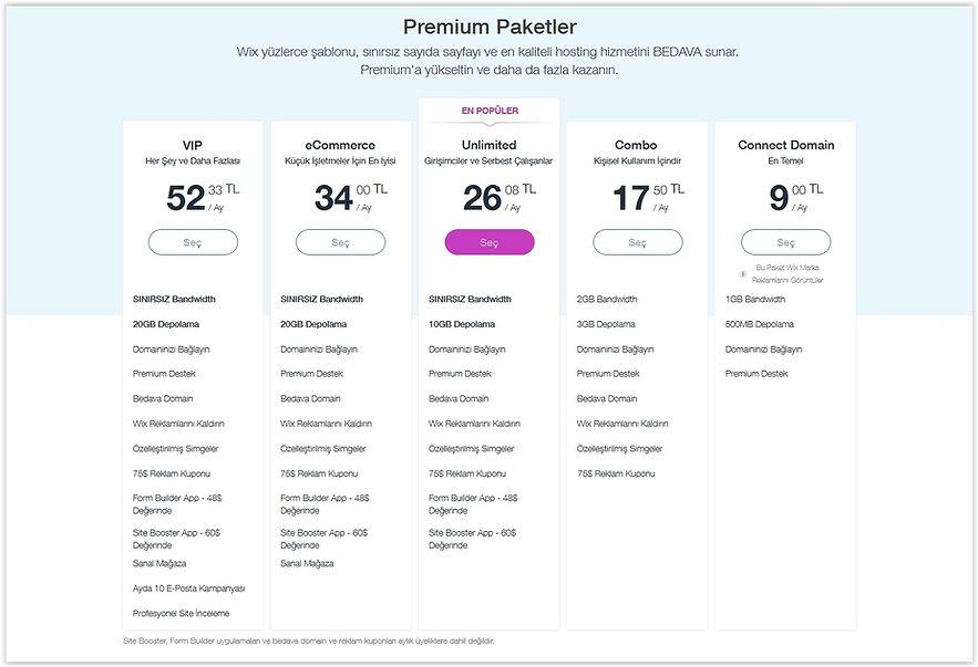 Wix premium paket fiyatları