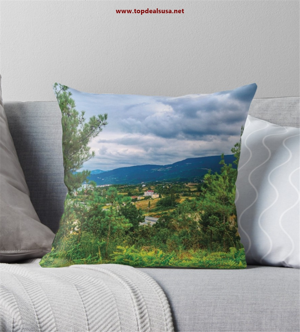 Amazing Valley View & Clouds Throw Pillo