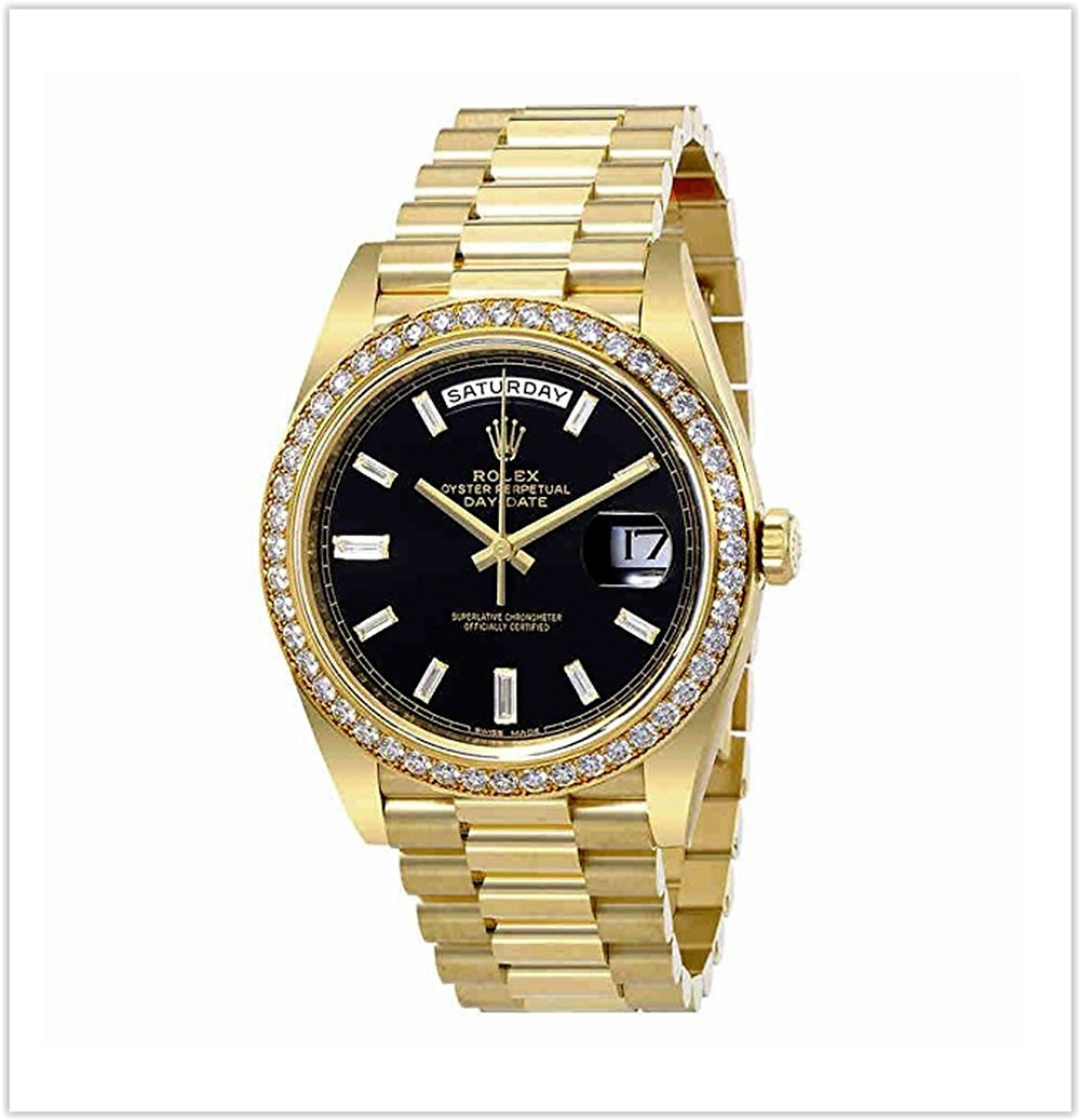 Rolex Oyster Perpetual Day-Date Black Dial Automatic Mens 18 Carat Yellow Gold President Watch best price