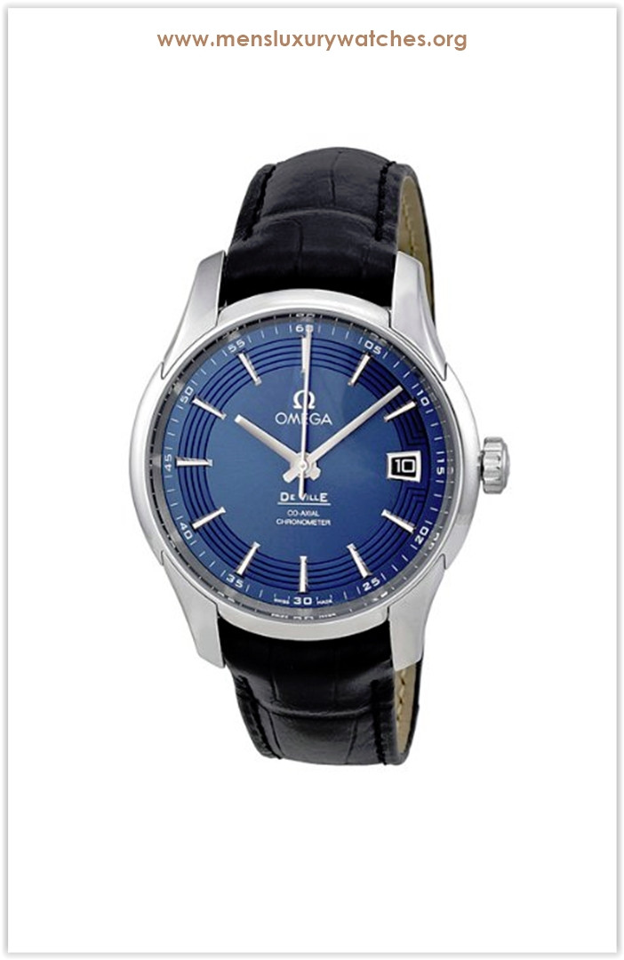 Omega DeVille Blue Dial Black Leather Men's Watch Price