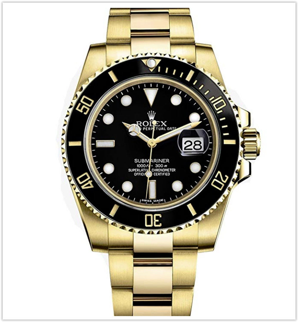 Rolex Submariner Yellow Gold Watch Black Dial Men's Watch best price