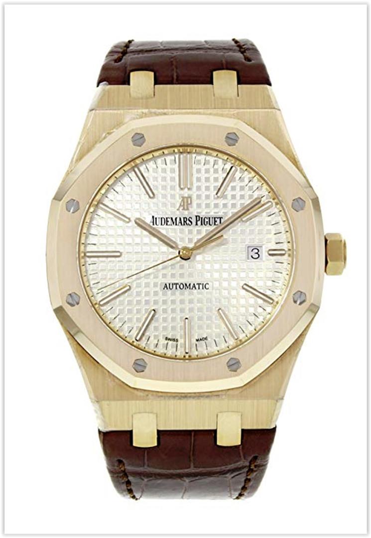 Audemars Piguet Royal Oak Automatic Silver Dial Brown Leather Strap Men's Watch Price