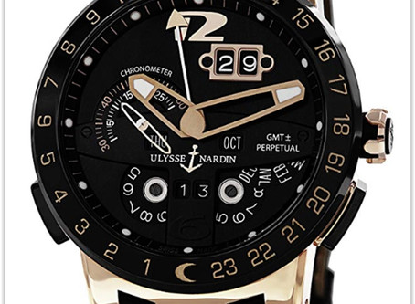 Ulysse Nardin El Toro Men's Watch Black Leather Strap Automatic Perpetual Calendar Rose Gold
