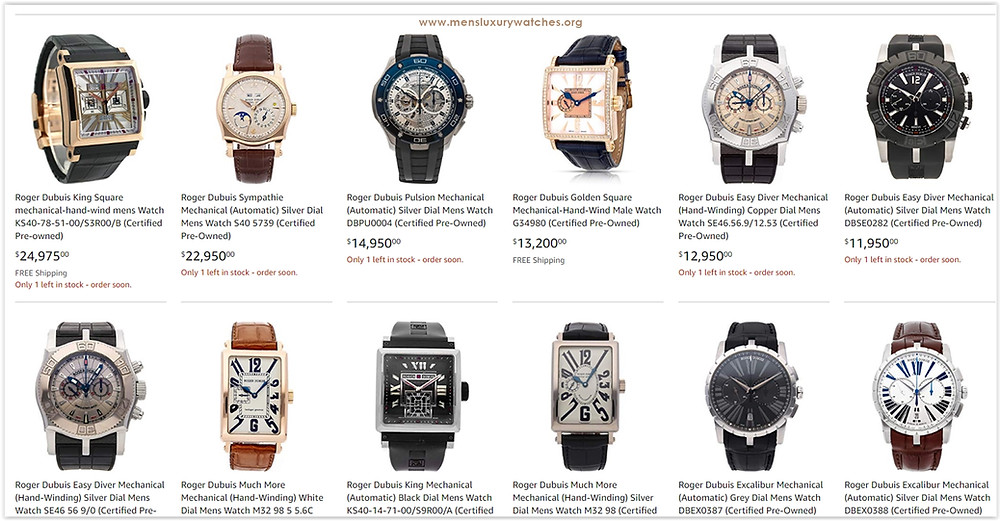 Roger Dubuis Men's Watches Price List