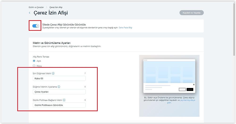 Web sitesi için Gizlilik ve Çerez kullanımı butonu nasıl oluşturulur?