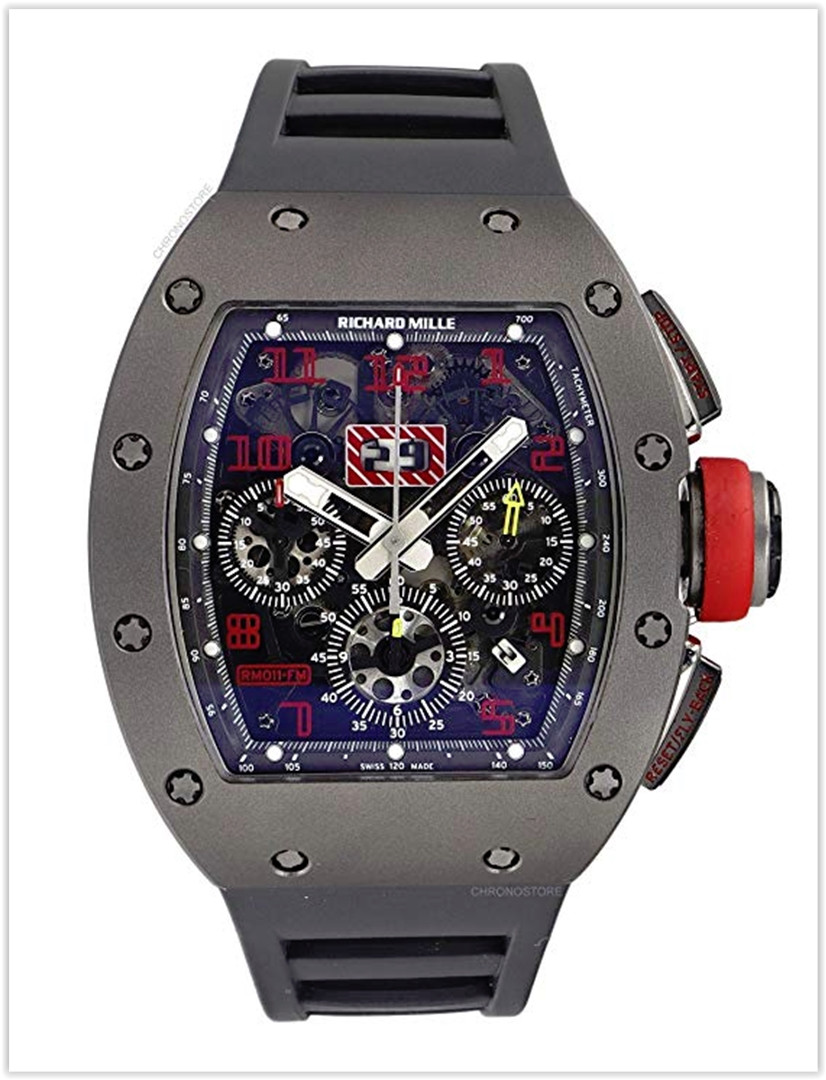 Richard Mille RM011 Sandblast Titanium Skeleton Rubber Automatic Men's Watch Price