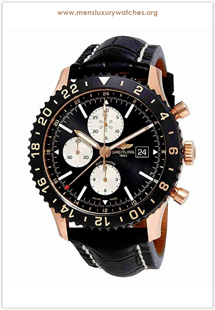 Breitling Chronoliner Black Dial Chronograph Leather Men's Watch price