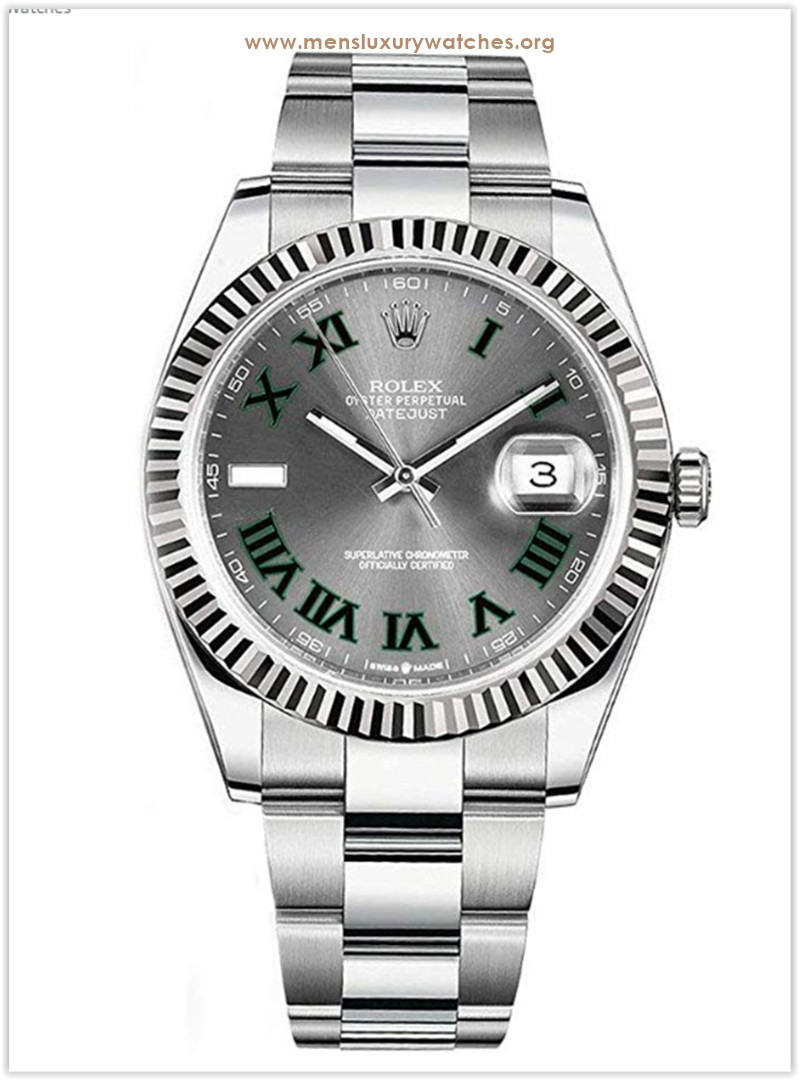 Rolex Datejust 41 Grey Dial with Green Roman Numeral Markers Men's Watch the best price