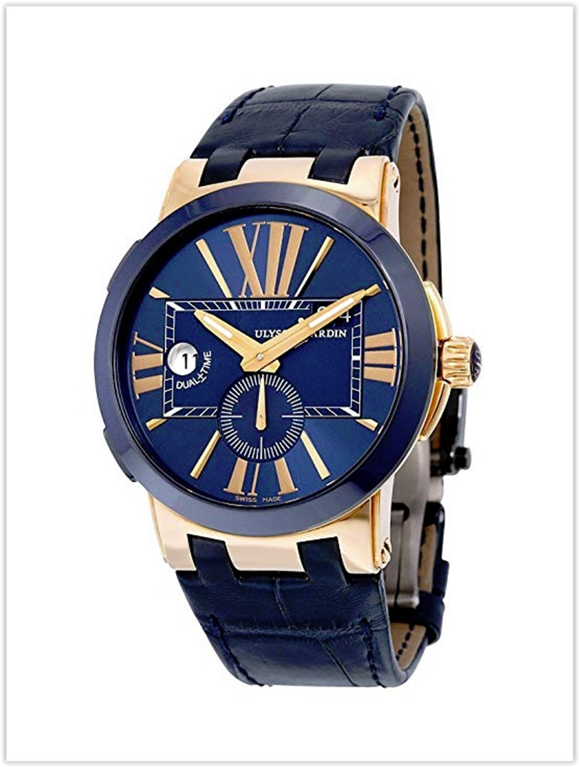 Ulysse Nardin Dual Time Blue Leather Strap Rose Gold Automatic Men's Watch