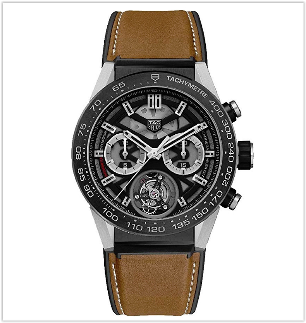 TAG Heuer Carrera Titanium on Brown Calfskin Rubber  Leather Strap best price Men's watch