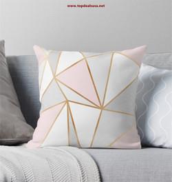 Pink, Grey & Gold Geo Throw Pillow